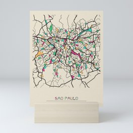 Colorful City Maps: Sao Paulo, Brazil Mini Art Print