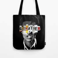 godfather Tote Bags featuring Godfather Mix 1 black by Marko Köppe