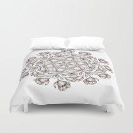 light broun flowers mandala Duvet Cover