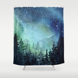 Galaxy Watercolor Aurora Borealis Painting Shower Curtain