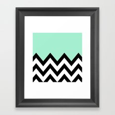 MINT GREEN COLORBLOCK CHEVRON Framed Art Print