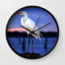 The Great White Egret Wall Clock