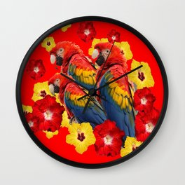 TROPICAL BLUE MACAWS & RED YELLOW HIBISCUS RED ART Wall Clock