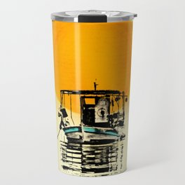 Sunset Boat Silhouette Travel Mug
