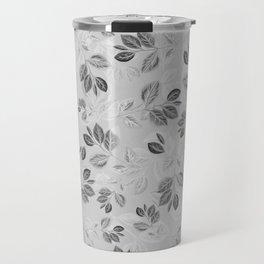 Black and White Leaves Pattern #2 Travel Mug