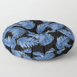 Tropical Palm Leaves - Black and Blue Palette Floor Pillow