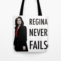 regina mills Tote Bags featuring Regina never fails by Geek World