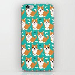 Cute corgi illustration on turquoise background pattern iPhone Skin