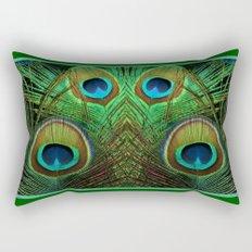 Decorative Green Art Peacock Eye Feathers Design Rectangular Pillow