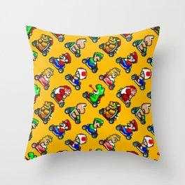 Super Mar!o Kart heroes | vintage videogame pattern | orange Throw Pillow