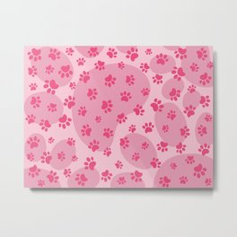 Pink Dog paw pattern. Digital illustration. Metal Print