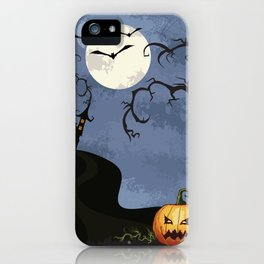 Halloween Spooky Scary House Moon Bats Pumpkin Trees iPhone Case