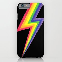 Rainbow Bolts on Black iPhone Case