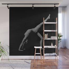 9466s-DJA BW Zebra Striped Nude Woman Yoga Pose Wall Mural