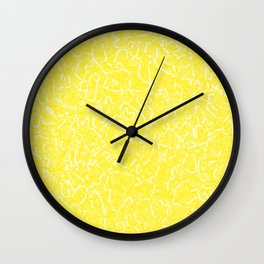 Chaotic white tangled ropes and yellow pastel lines. Wall Clock