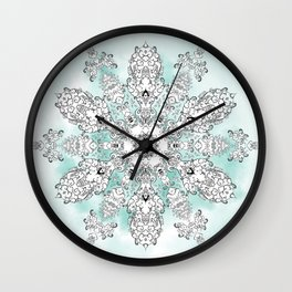 Christmastrehousesnowflake 2 Wall Clock