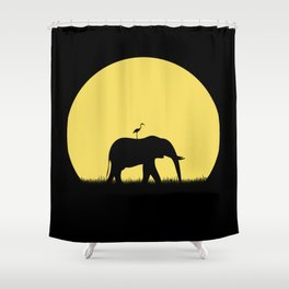 The elephant and her friend heron Shower Curtain