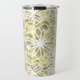 Mandala Multi Metal Yellow Gold Travel Mug