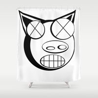 pig Shower Curtains featuring pig. by azyxz