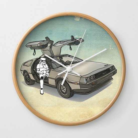 Stormtrooper in a DeLorean - waiting for the car club Wall Clock