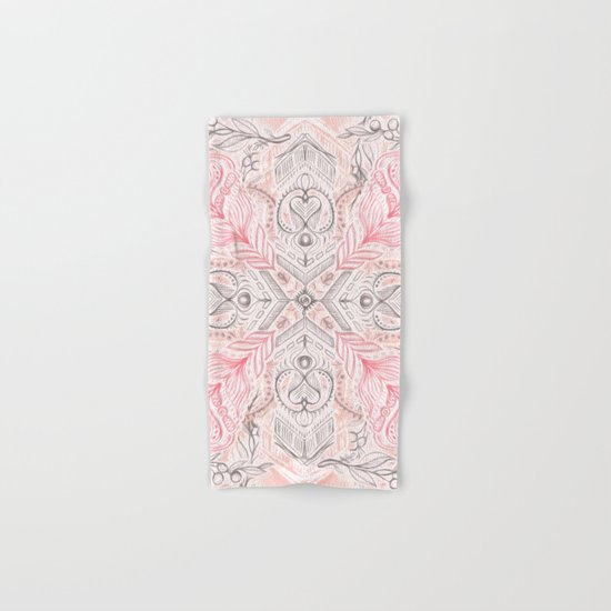 Peaches and Cream Doodle Tile Pattern Hand & Bath Towel