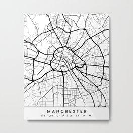 MANCHESTER ENGLAND BLACK CITY STREET MAP ART Metal Print
