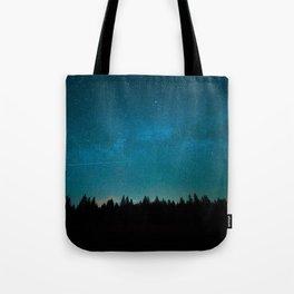Blue Milky Way Galaxy Pine Tree Silhouette Night Star Sky Tote Bag