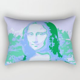 Monna Lisa in Blue/Green Rectangular Pillow