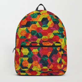 Colorful Half Hexagons Pattern #08 Backpack
