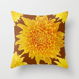 Coffee Brown Color Golden Yellow Chrysanthemums Throw Pillow