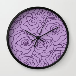 Lavender Dreams Roses - Light with Dark Outline - Color Therapy Wall Clock
