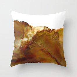 Sediment - brown caramel rust copper, Abstract Landscape, Modern Art , Wall Art Throw Pillow