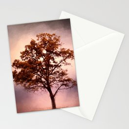 Coral Pink Sunrise Cotton Field Tree - Landscape  Stationery Cards