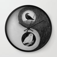 yin yang Wall Clocks featuring  Yin & Yang  by Owl Art Suri