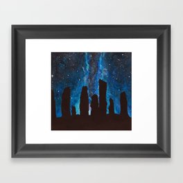 Outlander Craigh Na Dun Standing Stones Watercolor Painting with milky way galaxy Framed Art Print