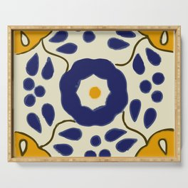 Talavera Mexican tile inspired bold design in blue and yellow Serving Tray