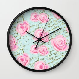 Pink  Roes and French Script Wall Clock