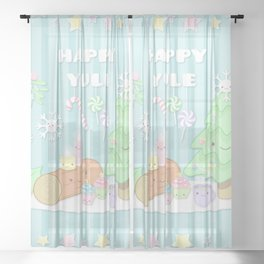 HAPPY YULE Sheer Curtain