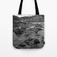 agnes cecile Tote Bags featuring St Agnes From The Sea by Mark Nelson