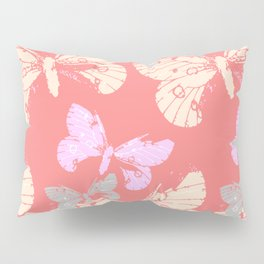 Butterflies on Coral Red Pillow Sham