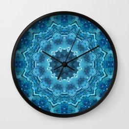 Blue mandala . Kaleidoscope . Winter . Wall Clock