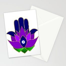 Lotus Hamsa Evil Eye Stationery Cards