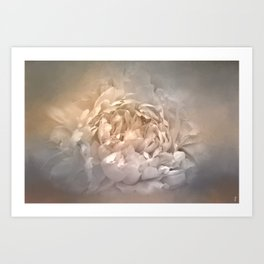 Blushing Silver and Gold Peony - Floral Art Print