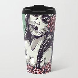 beautiful girl and flower Travel Mug