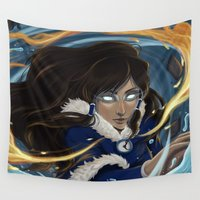 korra Wall Tapestries featuring Avatar State by Nikki Abrego