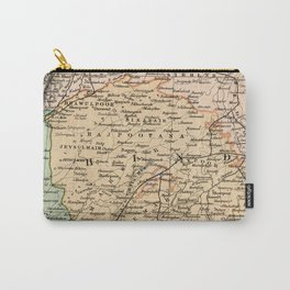 Vintage and Retro Map of India Carry-All Pouch
