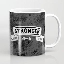 Stronger Every Day (dumbbell, black & white) Coffee Mug