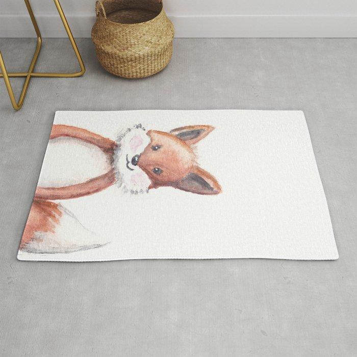 Woodland Animal Fox Head Watercolor Nursery Rug By Inmyatticstudio