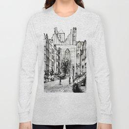 GOTHIC STREET OF POLISH CITY GDANSK IN GREY TONES Long Sleeve T-shirt