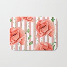 Poppies Dusty Pink Stripes Bath Mat